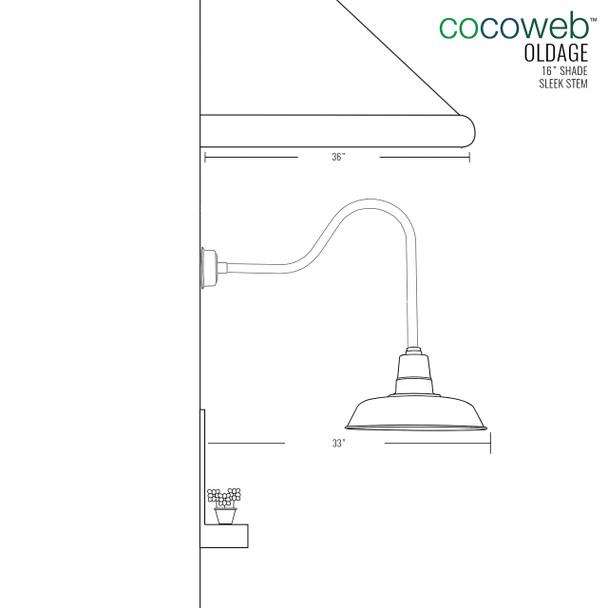 "Dimensions for 16"" Indoor/Outdoor Sleek Oldage LED Barn Light"