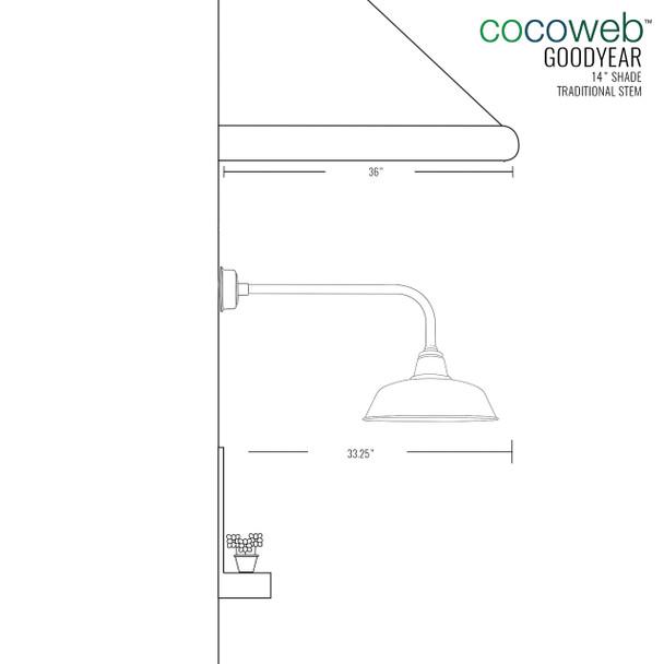 "Vintage Green 14"" Goodyear Indoor/Outdoor Traditional LED Barn Lights"