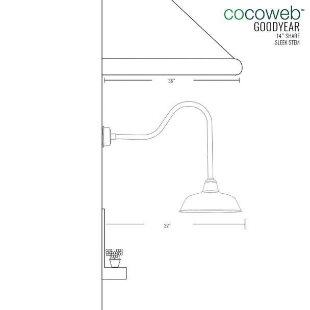 """Goodyear Vintage Green Sleek 14""""  Indoor/Outdoor LED Barn Lights"""