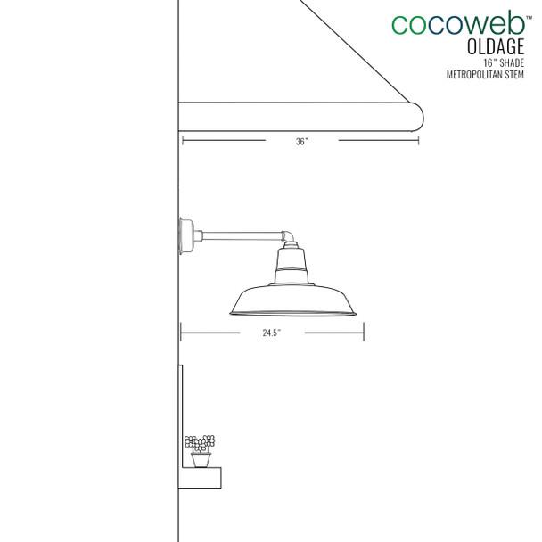"""Dimensions for 16"""" Metropolitan Oldage Indoor/Outdoor LED Barn Light"""
