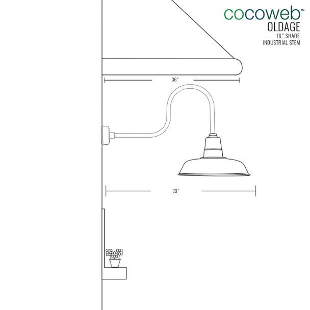 "Oldage 16"" Industrial Solid Brass Indoor/Outdoor LED Barn Light"