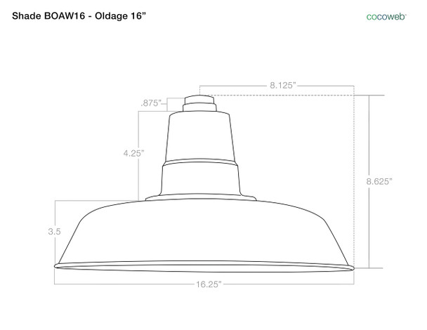 "16"" oldage shade  dimensions"