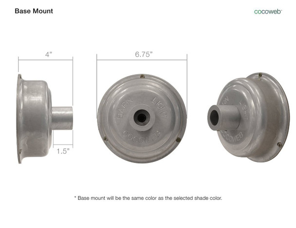 """Base Mount Dimensions for Calla 16"""" Industrial White Indoor/Outdoor LED Barn Light"""