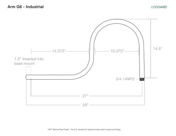 """Arm Dimensions for Calla 16"""" Industrial White Indoor/Outdoor LED Barn Light"""