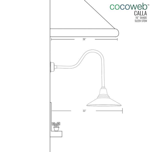 "Dimensions for 16"" Sleek Calla Indoor/Outdoor LED Barn Light"