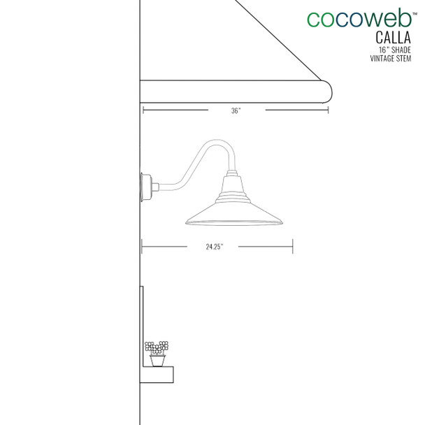 """Dimensions for 16"""" Calla Vintage Indoor/Outdoor LED Barn Light"""