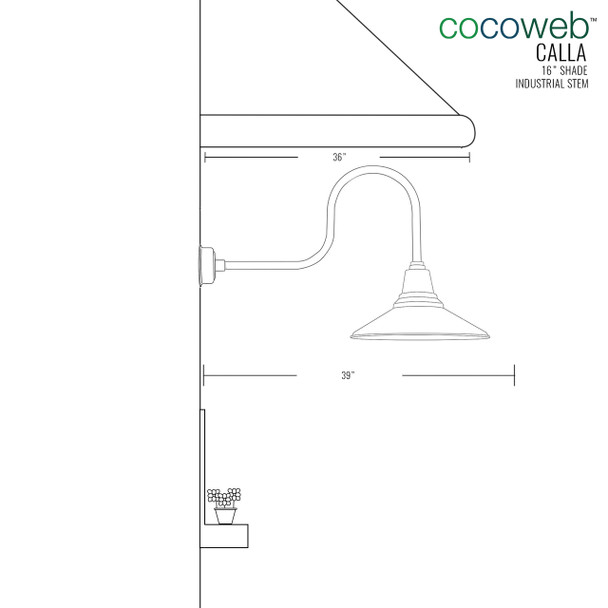 """Dimensions for 16"""" Indoor/Outdoor Calla Industrial LED Barn Light"""