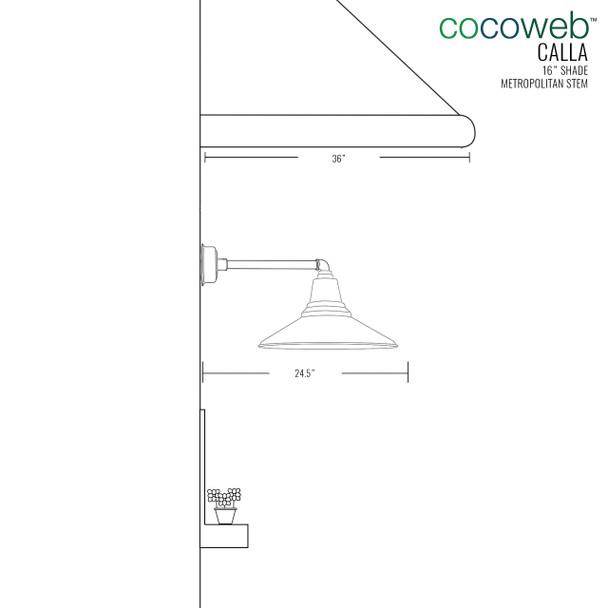 "Dimensions for 16"" Metropolitan Calla Indoor/Outdoor LED Barn Light"
