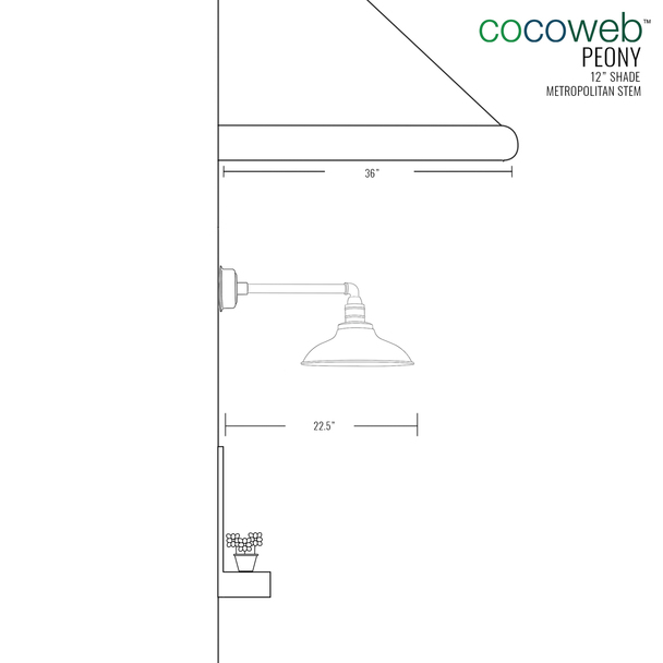 "12"" Mahogany Bronze Peony Metropolitan Indoor/Outdoor LED Barn Lights"