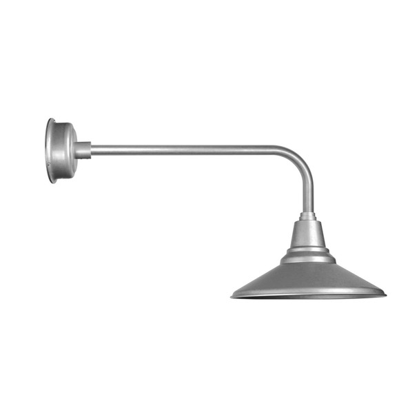 "Traditional Galvanized Silver 16"" Calla LED Barn Light"