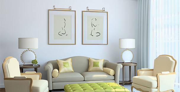 Example: Battery-Operated 12'' Tru-Slim LED Picture Light - Antique Brass Mounted on Painting in Living Room