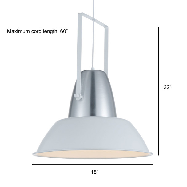 "18"" Cremona LED Pendant Light in White"