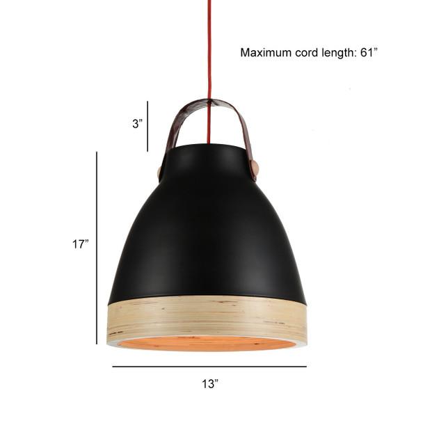 "13"" Norcia LED Pendant Light in Black"