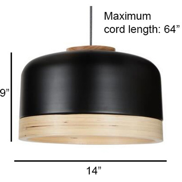 "14"" Vicenza LED Pendant Light in Black"