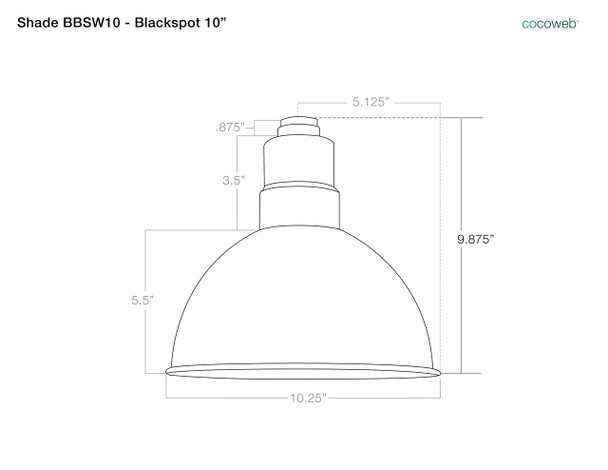 "Shade Dimensions for 10"" Blackspot LED Sconce Light with Chic Arm in Jade"