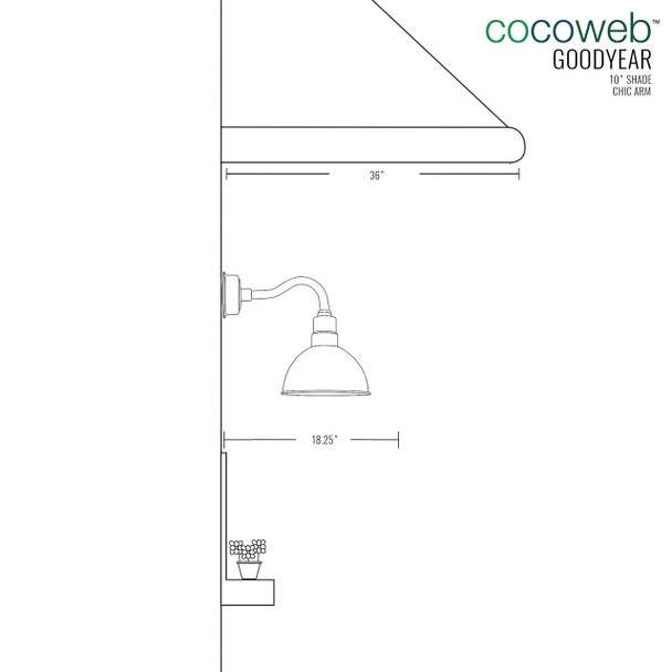 "Dimensions for 10"" Blackspot LED Sconce Light with Chic Arm in Jade"