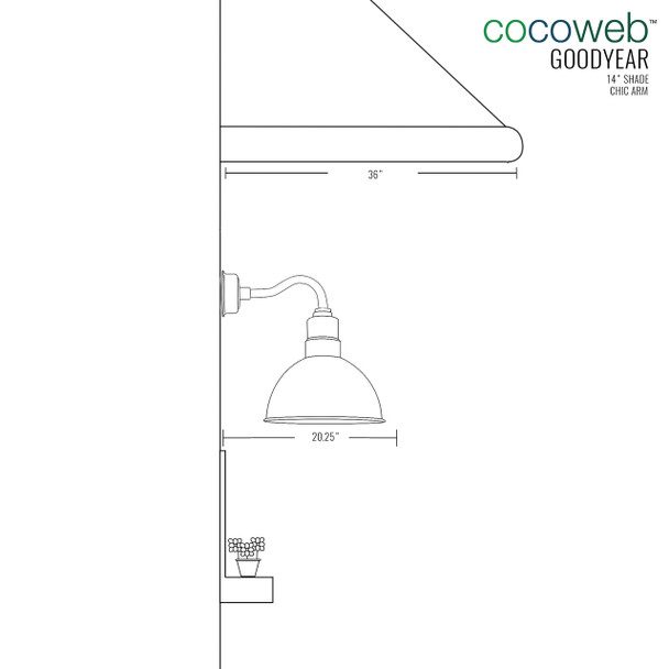 """14"""" Blackspot LED Sconce Light with Chic Arm in White"""