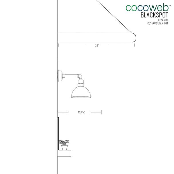 "8"" Blackspot LED Sconce Light with Cosmopolitan Arm in Jade"