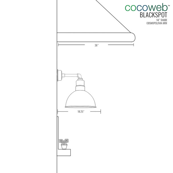 "14"" Blackspot LED Sconce Light with Cosmopolitan Arm in Jade"