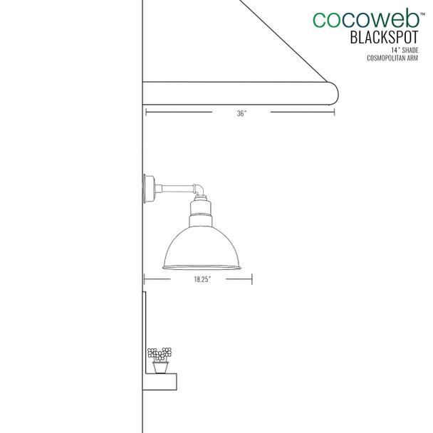 "14"" Blackspot LED Sconce Light with Cosmopolitan Arm in White"