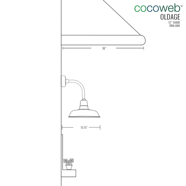"""12"""" Oldage LED Sconce Light with Trim Arm in Galvanized Silver"""