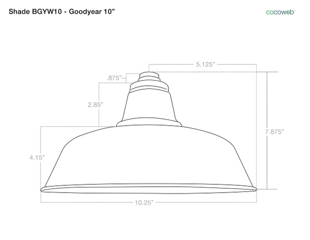"""Shade Dimensions for 10"""" Goodyear LED Sconce Light with Trim Arm in Galvanized Silver"""