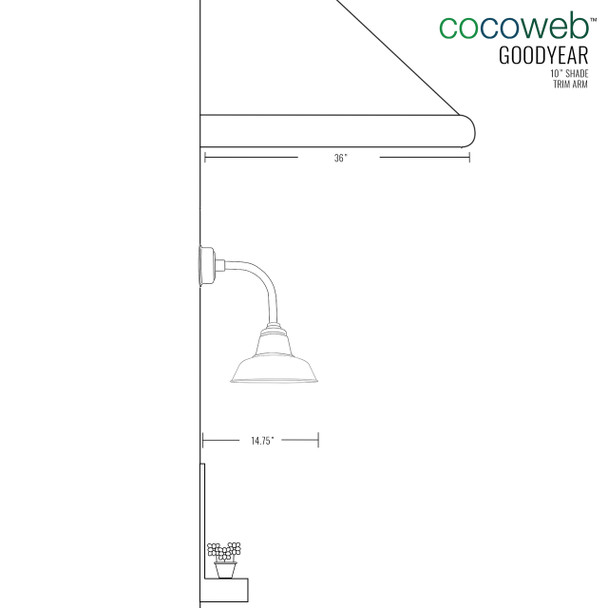 """Dimensions for 10"""" Goodyear LED Sconce Light with Trim Arm in Galvanized Silver"""