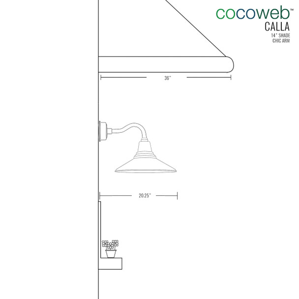 """14"""" Calla LED Sconce Light with Chic Arm in White"""