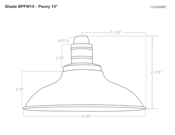 "Shade Dimensions for 10"" Peony LED Sconce Light with Trim Arm in Jade"