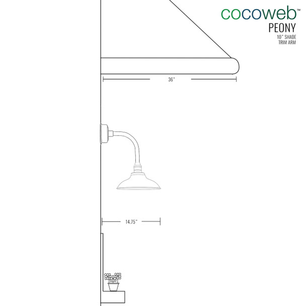"Dimensions for 10"" Peony LED Sconce Light with Trim Arm in Jade"