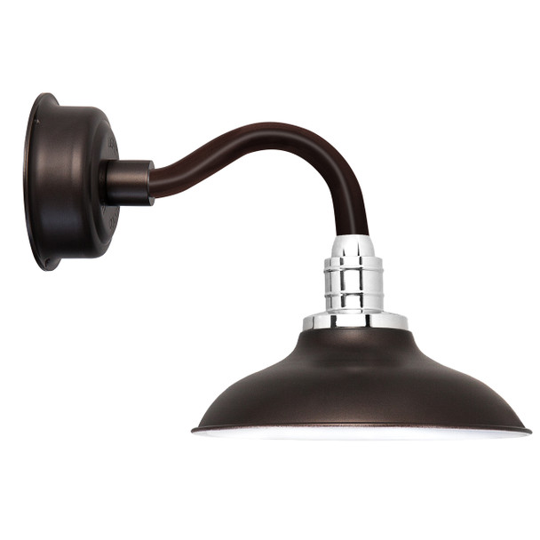 "12"" Peony LED Sconce Light with Chic Arm in Mahogany Bronze"