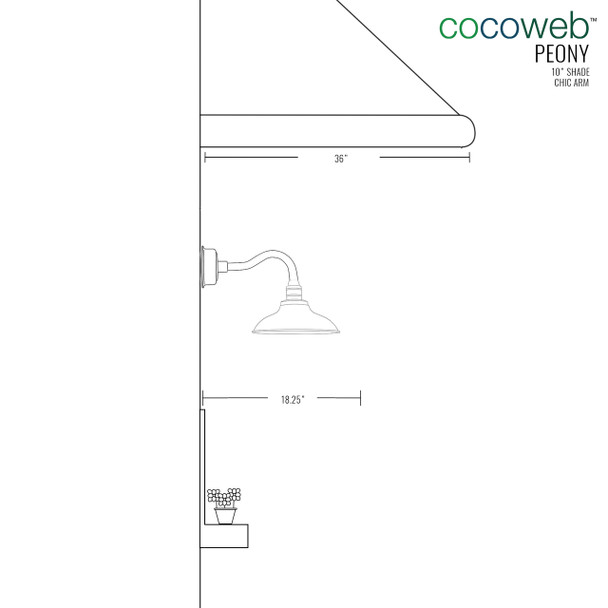 "Dimensions for 10"" Peony LED Sconce Light with Chic Arm in Jade"