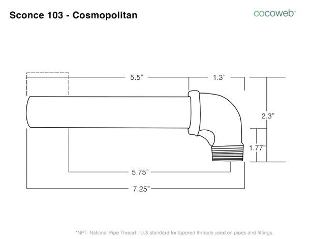"Arm Dimensions for 10"" Peony LED Sconce Light with Cosmopolitan Arm in Jade"