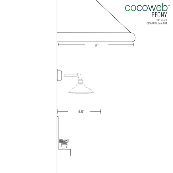 "Dimensions for 10"" Peony LED Sconce Light with Cosmopolitan Arm in Jade"