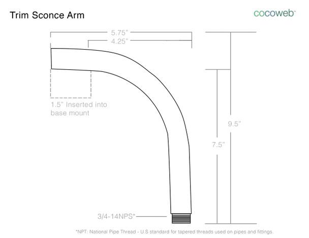 "12"" Blackspot LED Sconce Light with Trim Arm in Black"