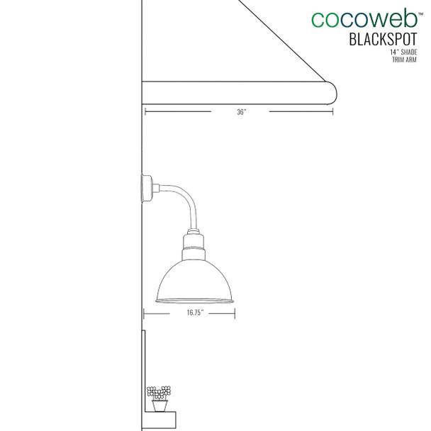 "14"" Blackspot LED Sconce Light with Trim Arm in Jade"