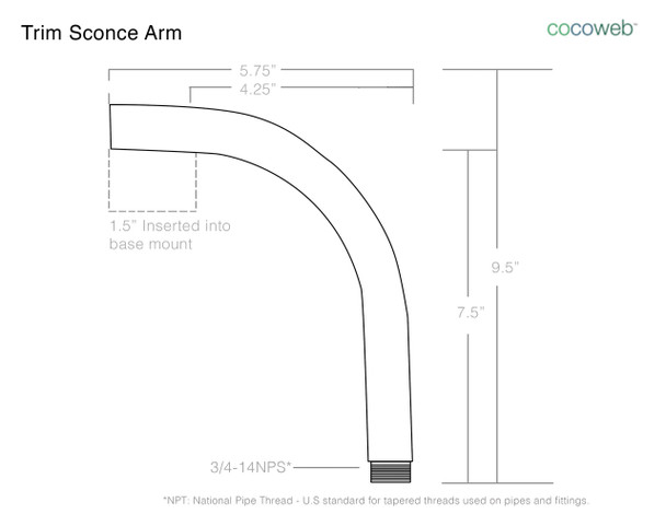 "8"" Blackspot LED Sconce Light with Trim Arm in Jade"