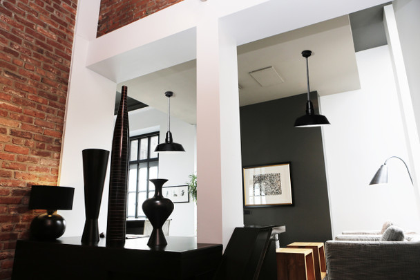 "Lifestyle View of 10"" Goodyear LED Pendant Light in Black"