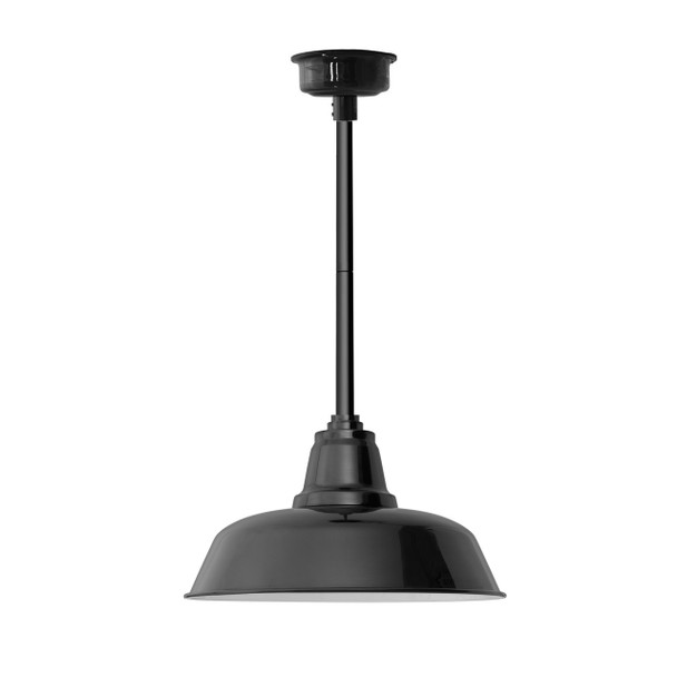 """14"""" Goodyear LED Pendant Light in Black with Black Downrod"""