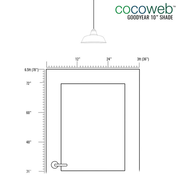 """Recommended Door Dimensions for 10"""" Goodyear LED Pendant Light in Galvanized Silver"""