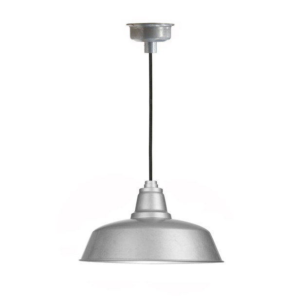 """10"""" Goodyear LED Pendant Light in Galvanized Silver with Galvanized Silver Downrod"""