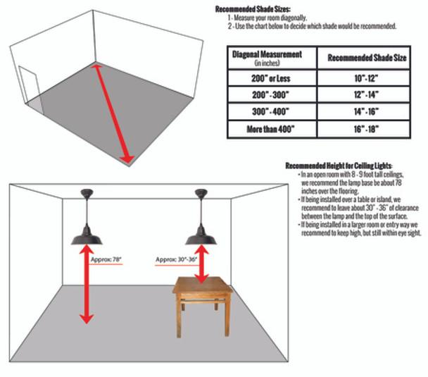 "Recommended Installing Dimensions for 10"" Blackspot LED Pendant Light in Black"