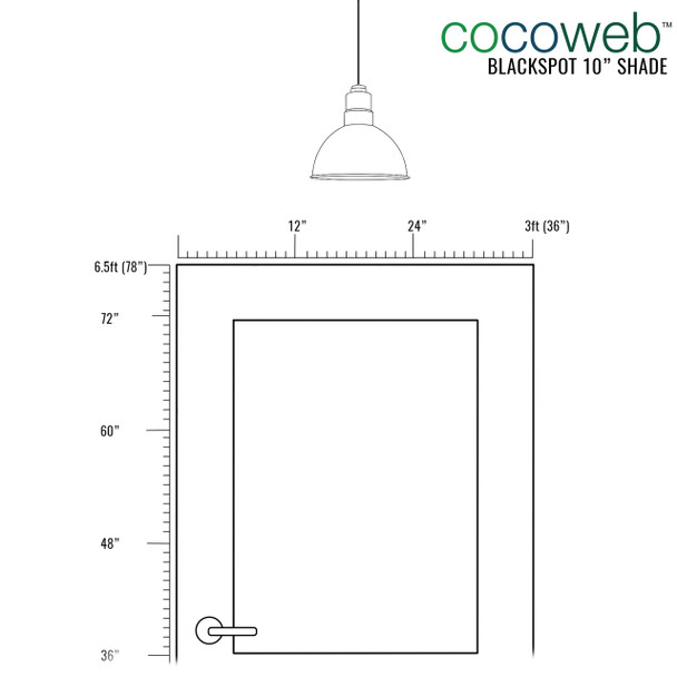"Door Dimensions for placement of 10"" Blackspot LED Pendant Light in Black"