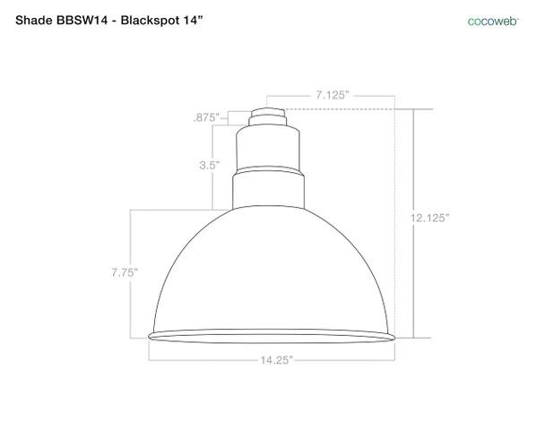 "14"" Blackspot LED Pendant Light in Black with Black Downrod- Shade"