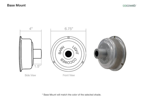 "Base Mount for 10"" Peony LED Pendant Light in Jade"