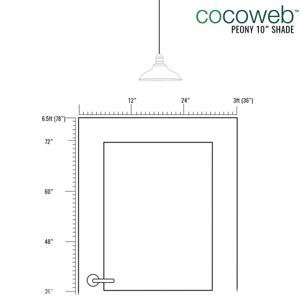 "Recommended Door Dimensions for 10"" Peony LED Pendant Light in Cherry Red"