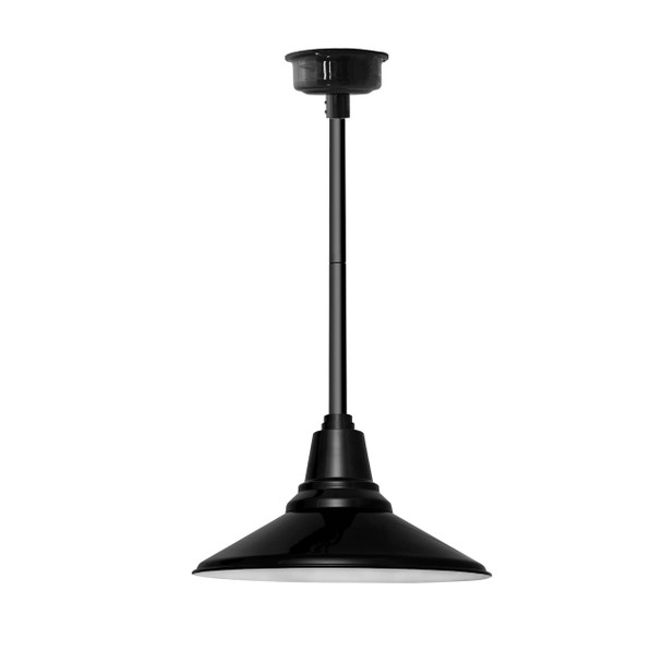 "18"" Calla LED Pendant Light in Black with Black Downrod"