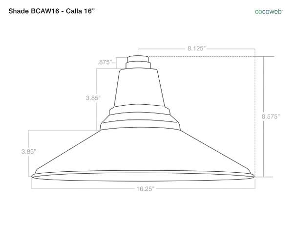 """16"""" Calla LED Pendant Light in Galvanized Silver with Galvanized Silver Downrod"""