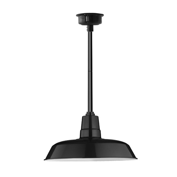 "18"" Oldage LED Pendant Light in Black with Black Downrod"