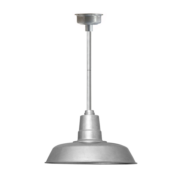 """18"""" Oldage LED Pendant Light in Galvanized Silver with Galvanized Silver Downrod"""